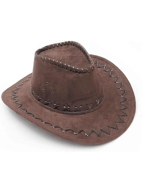 Kovbojský klobouk kožený hnědý