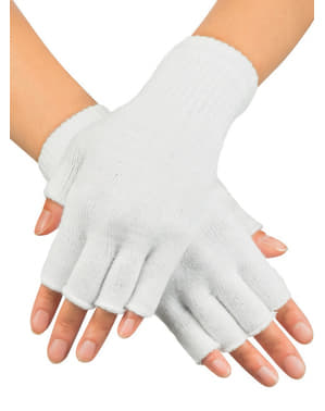 Adult's White Fingerless Gloves