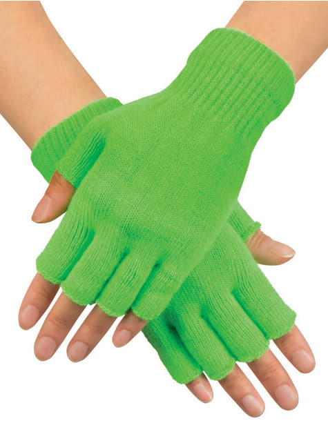 Guantes verdes sin dedos para adulto