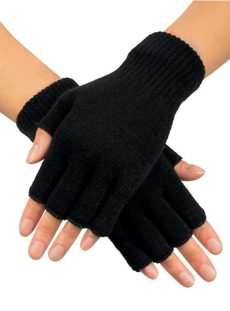 Adult's Black Fingerless Gloves