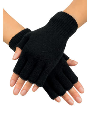 Adult's Black Fingerless Gloves