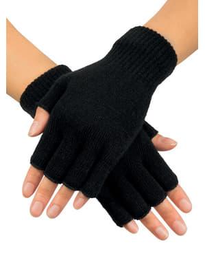 כפפות ללא אצבעות השחורות של המבוגר