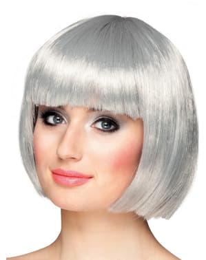 Sølvfarvet pageparyk med pandehår til kvinder