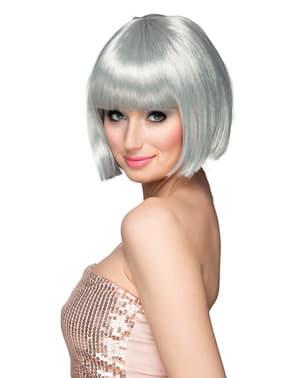 Krótka peruka srebrna z grzywką damska