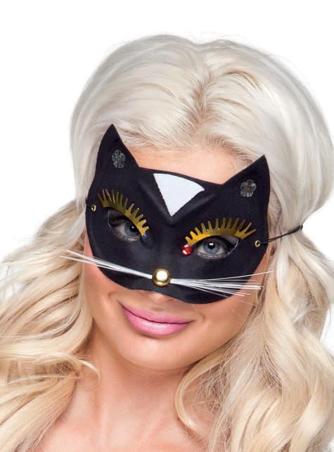Adult's Cat Masquerade Mask with Big Eyelashes