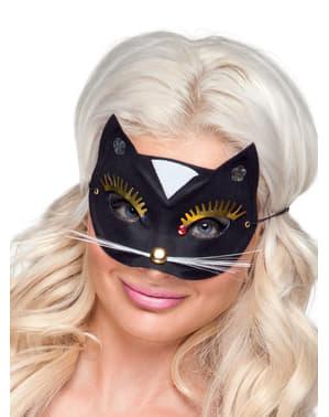 Katt Maskerade Maske med Svarte Øyenvipper Voksen