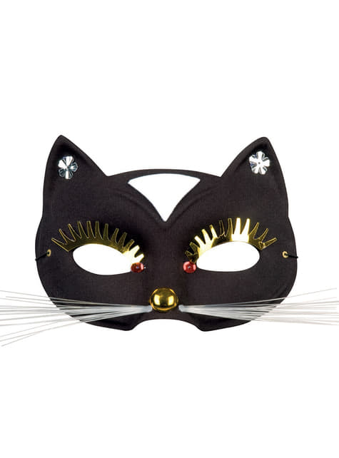 Antifaz de gatito de grandes pestañas para adulto