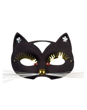 Adult's Cat Masquerade Mask with Big Eyelashes