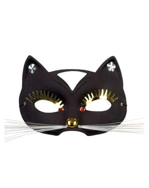 Aikuisten Kissa Naamiaisnaamio isoilla silmäripsillä