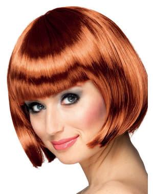 Peruca cor cobre de comprimento médio com franja para mulher