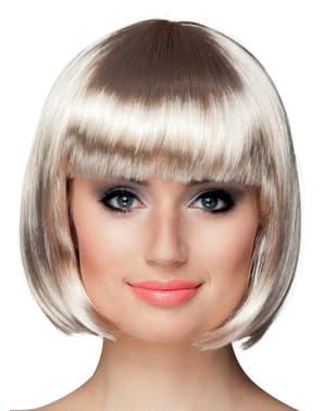 Peluca rubia platino media melena con flequillo para mujer