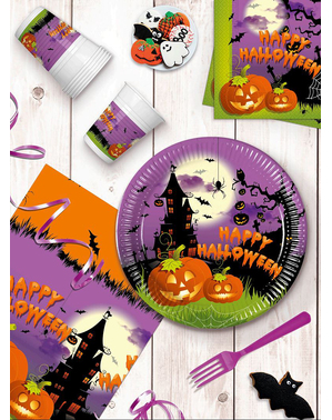 Græskar Festdekorationer til 16 personer - Happy Spooky Halloween