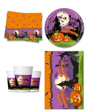 Décoration fête Citrouille 8 personnes - Happy Spooky Halloween
