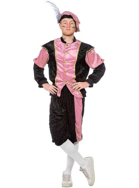Schwarzer Peter Piet Nikolaushelfer rosa Kostüm für Herren