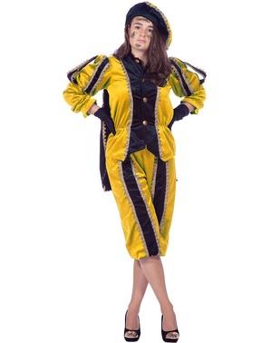 Schwarzer Peter Piet Nikolaushelfer gelbes Kostüm für Damen