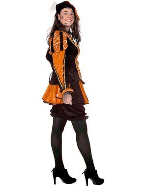 Fato de Pedro ajudante de São Nicolau cor de laranja para mulher