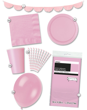 Party kit for 8 people in pink