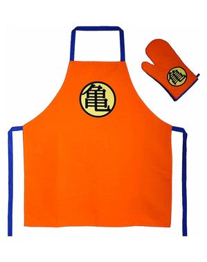 Bijpassende Dragon Ball Turtle Symbol schort en ovenwant