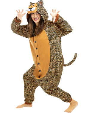 Costume da leopardo onesie per adulto