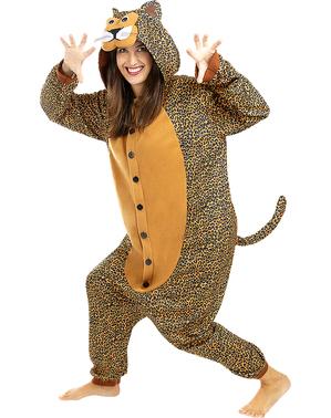 Fato de leopardo onesie para adulto
