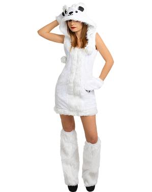 Costume da orso polare da donna taglie forti