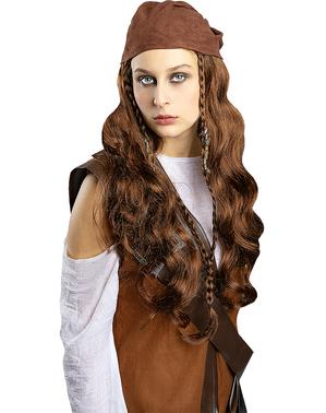 Bruine piraten pruik voor vrouwen