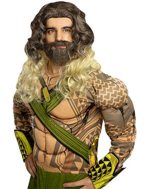Aquaman-pruik met baard voor volwassenen