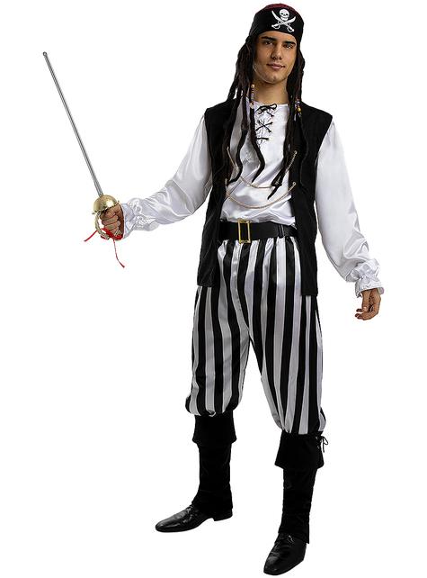 Déguisement pirate à rayures homme grande taille - Collection Blanc et Noir