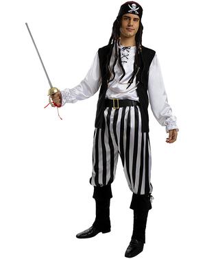 Stribet Pirat Kostume til Mænd i Plusstørrelse - Sort / Hvid Samling
