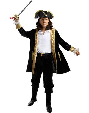 Fato de pirata deluxe para homem tamanho grande - Coleção colonial