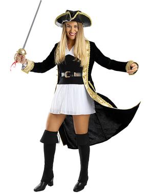 Deluxe Piraten kostuum voor vrouwen grote maat - Koloniale Collectie