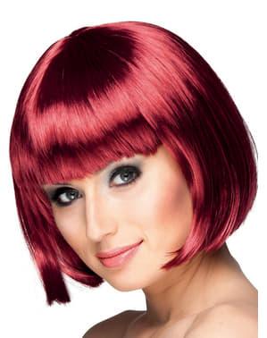 Червенокосата половин перука на жената с ресни