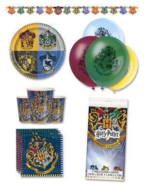 Decoración fiesta de cumpleaños Harry Potter premium 8 personas - Hogwarts Houses
