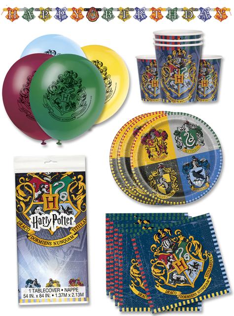 Decoración fiesta de cumpleaños Harry Potter premium 16 personas - Hogwarts Houses