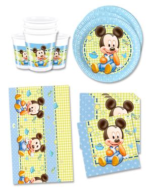 Födelsedagsdekoration Mickey 16 personer - Baby Mickey