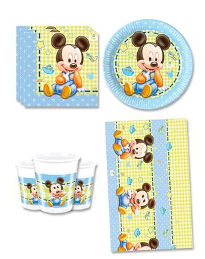 Mickey Fødselsdagsdekorationer til 8 personer - Baby Mickey