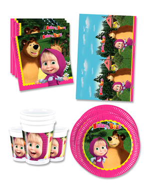 Masha and the Bear Verjaardagsdecoraties voor 16 personen