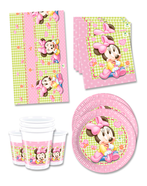 Baby Minnie Fødselsdagsdekorationer til 16 personer