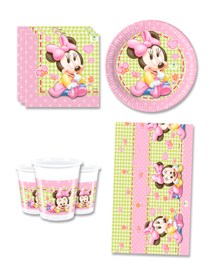 Baby Minnie Fødselsdagsdekorationer til 8 personer