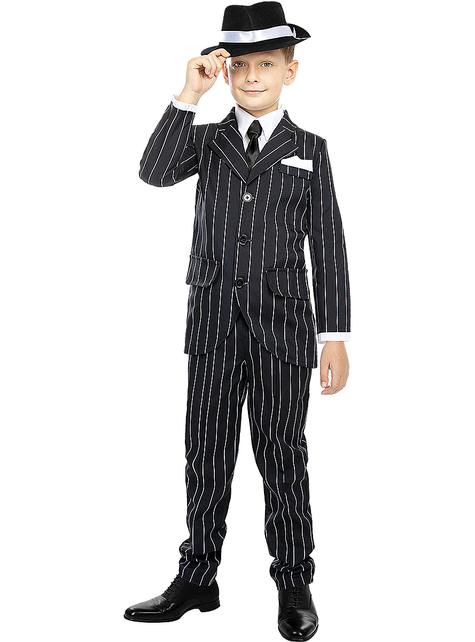 Disfraz de gángster negro años 20 para niños