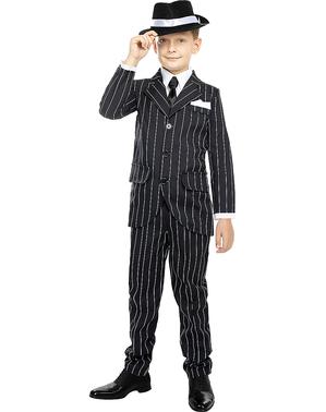 Fato de gangster em preto anos 20 para menino