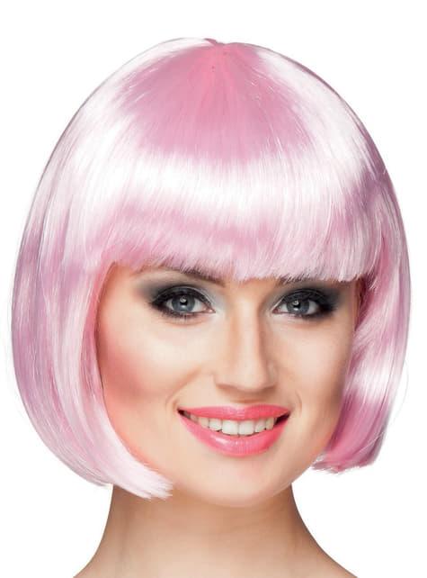Peluca rosa palo media melena con flequillo para mujer