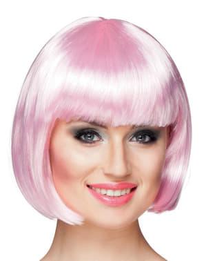Peruca cor de rosa pálido de comprimento médio com franja para mulher