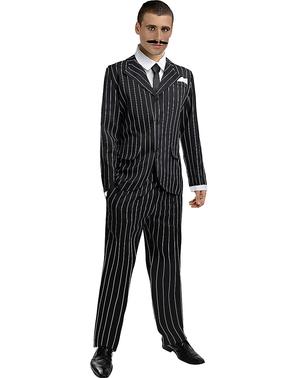 Fato de gangster em preto anos 20