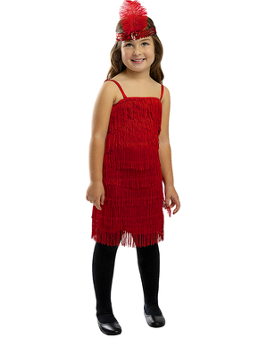 Czerwony Strój Charleston (Flapper) dla dziewczynek