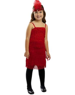 Rødt Flapper Kostume til Piger