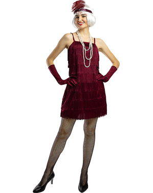 1920s Flapper Costume in Maroon