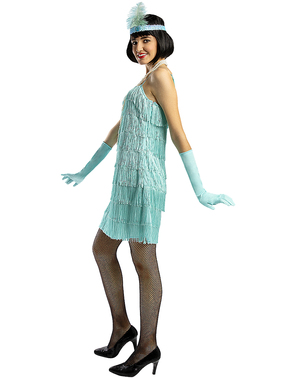 1920s Flapper kostuum in blauw
