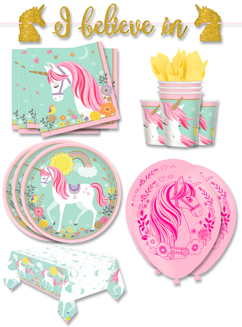 Decoración fiesta unicornio premium 16 personas - Pretty Unicorn