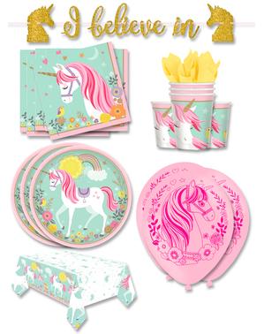 Premium Enhjørning Festdekorasjoner for 16 Personer - Pretty Unicorn